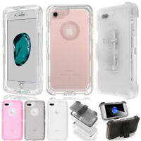 For iPhone 7 8 6 Plus X XR XS Max Clear Defender Heavy Duty Case Belt Clip Cover