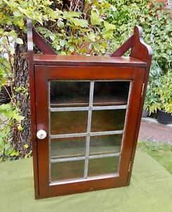 OLD STAINED PINE DISPLAY CABINET~ORIGINAL GLASS~shelves wall or freestanding