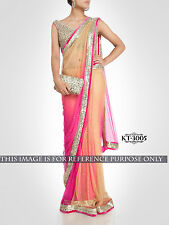 Opulent Orange And Pink Embroidery Work Nylon Net Party Wear Saree KT3005