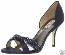 NIB Badgley Mischka Ryanne satin D'orsey heels pumps sandals open shoes blue 6,5