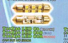 COPPIA LED SILURO T10X36 LED C6B 36mm BASE T11 C5W 6000K 12 VOLT LUCE BLU