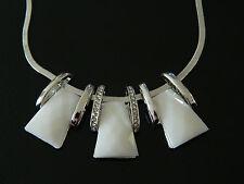 Mode Halskette dreifach weiß opal mit Kristall Elemente Choker Halskette N40