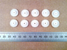 Qty 10 : 16mm Plastic Gear Wheels, 30 Tooth Push Fit Cog for 2mm Motor Shafts ff