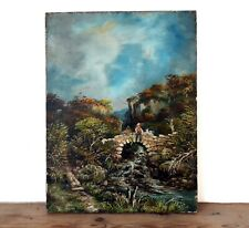 Antique Victorian Oil Canvas Painting Idyllic Rural Scene River Bridge Man Dog