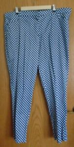 Isaac Mizrahi 24/7 Ankle Pant in Navy Blue & White NWOT Sz 20W