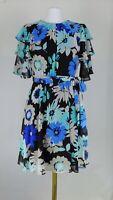 NWT Calvin Klein Floral Flutter Sleeve Belted Fit n Flare Dress Size 8 10 ($134)