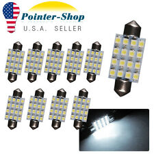 10Pcs White Festoon 39mm 16SMD Interior Map Door Dome LED Light Bulbs C5W 6411
