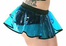 Blue UV Vinyl Circle Skirt Vinyl Dolls Lip Service Cyber Goth Fetish Rave XS