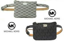 Michael Kors MK Logo Belt Bag Travel Fanny Pack Black/Grey/Silver SMALL~ X-LARGE