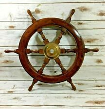 OLD LOOK 18'' Pirate Wooden Ship Wheel Vintage Boat Nautical Decor Brass Center