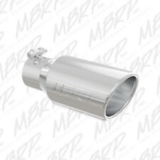 MBRP T5155 304 SS Round Rolled Edge Angle Cut Clamp-On Polished Exhaust Tip