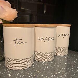 Set Of 3 Cream Ceramic Tea Coffee Sugar Canisters Jars Embossed Storage Jars