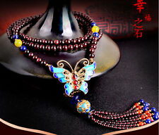 Chinese Cloisonne Butterfly pendant Natural Claret Garnet Fashion Necklace