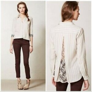 Isabella Sinclair Anthropologie Atlay Striped Sheer Lace Back Shirt Blouse Sz XL