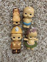 LOT 4 VINTAGE Wind Up Baby Babies Dog  Toys Tomy 1977 Girls Boys