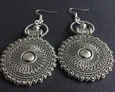 Tibetan Silver OVERSIZED Ethnic Disc Earrings Boho Chic Gypsy Bohemian Dangle