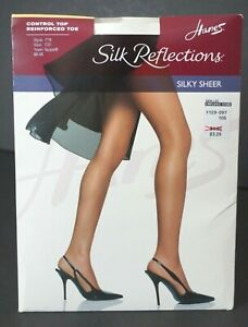 Hanes Control Top Pantyhose Reinforced Toe Silk Reflections Choose Size Color