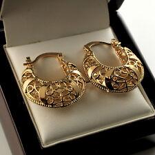 9ct Gold Plated Handbag Style Filigree Huggie Hoop Creole Earrings - UK 334