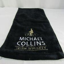 Michael Collins Irish Whiskey Bar Rag Black Embroidered Logo Bicycle
