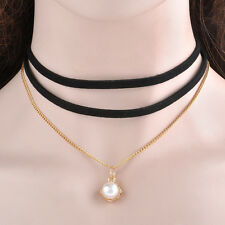 Women Black Leather velvet pearl Choker Charm Pendant Necklace Vintage Jewelry