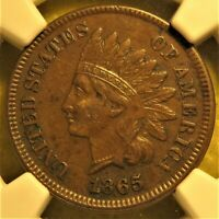 1865 Fancy 5 Indian Head Cent. Graded AU 55 NGC.
