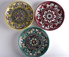 3 Keramik Teller Wandteller Pferdemotiv Pferd Umbrien Italien gelb grün rot