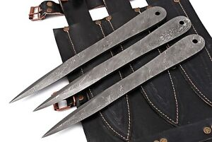 Custom Handmade 1095 Damascus Steel Throwing Knives Set With Leg Leather Pouch.