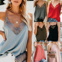 Women Silk Satin Camisole Lace Strappy Vest Top Sleeveless Blouse Casual Tank UK