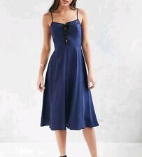 Urban Outfitters Cooperative Blue Midi Lace Up Cami Dress Fit Flare Size 4 Small