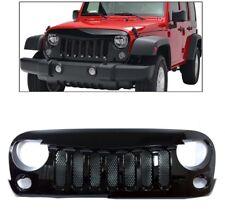07 18 Jeep Wrangler JK 2007 2018 Angry Skull 2 Front Gloss Black Mesh Grille