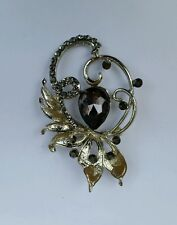 Brooch Cake Pin with Diamante Xmas Stunning Silver Plated Black Stone Flower