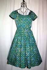 1950s Re-Go Fashion by Mr Sidney Teal & Black Print Rockabilly Swing Dress Xs/S