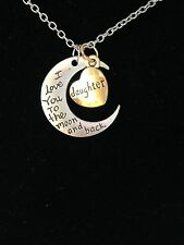 "Fashion Jewelry Silver Gold Plated I Love You To The Moon & Back ""Daughter"""