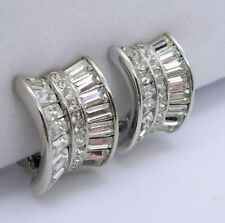 Vintage Nolan Miller Baguette Crystal Clip On Earrings, Signed