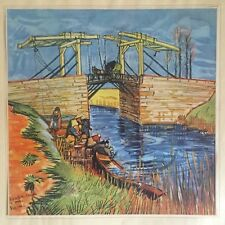 RARE VTG 1937 VAN GOGH LARGE ORIGINAL LITHOGRAPH PRINT THE BRIDGE AT ARLES 1888