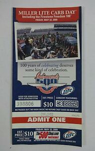 2009 Indianapolis 500 Miller Lite Carb Day 3 Doors Down Unused Ticket Employee