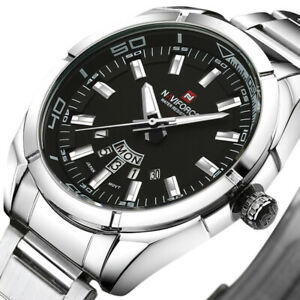NAVIFORCE Waterproof Calendar Men Wrist Watch Full Stainless Steel Quartz Watch
