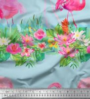 Soimoi Fabric Lotus & Flamingo Bird Fabric Prints By Yard - BRD-31E