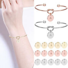Fashion Unique Open Bracelet Wife Bestfriend Heart 26 Letters Round Pendant Gift