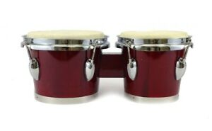 "BONGOS 7"" + 8"" inch DARK RED WOOD DUAL DRUMS SET - WORLD LATIN Percussion - NEW"