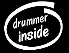 """DRUMMER INSIDE WHITE WINDOW DECAL 5"""" DRUMS DRUMMING PERCUSSION"""