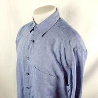 Hart Schaffner Marx Mens Button Front Dress Shirt Size XL Solid Blue Thin A44-19