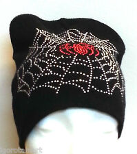 Single Men's Women Knit Ski Cap Hip-Hop Black Unisex Hat w/ Spider Web Beads