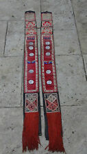PAIR ANTIQUE TIBETIAN EMBROIDERY FABRIC RELIGION RITUAL DOUBLE PANELS W/DRAGONS
