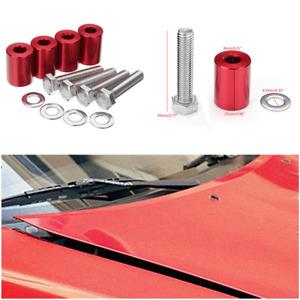 "Car Billet Aluminum Vent Hood Spacer Riser Set Kits 1"" Space Fit Engine Swaps"