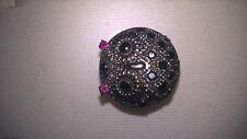 Owl Ring / Black Spinel & Created Ruby Ring / 925 Silver w/Rhodium / Full BlkDip