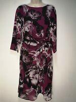 Kaliko Purple Floral Lined Long Sleeve Back Zip Shift Dress - Size 12 (388g)
