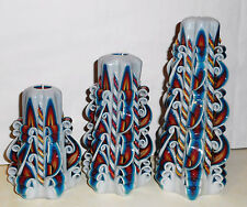Set of 3 Rainbow Unique candles Hand Carved candles 5`/12cm 6.7`/17cm 8`/20cm