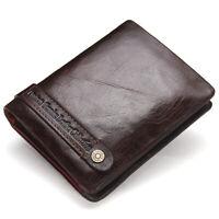 Men's Leather Bifold Wallet Short Money ID Credit Card Holder Zipper Coin Purse