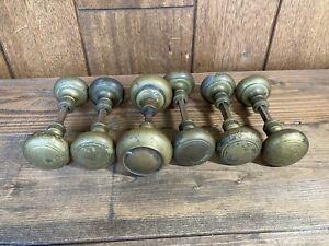 Vintage Brass Door Knob Set Lot Of 6 Sets